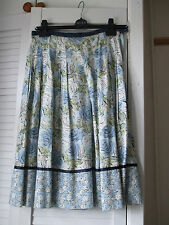 Liz Clairborne Blue Green Ivory Floral Leaves Skirt size 8/10