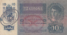 10 KRONEN VF PROVISIONAL BANKNOTE WITH STAMP FROM TUZLA/BOSNIA 1918