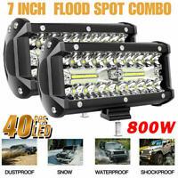 2x 7inch LED Work Light Bar Flood Spot Combo Fog Lamp Offroad Driving Truck