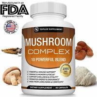 Mushroom Complex Supplement 90 Capsules + 10 Mushrooms Lions Mane - Reishi Pills