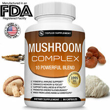 Mushroom Complex Supplement 90 Capsules + 10 Mushrooms Lions Mane - Reishi Pills