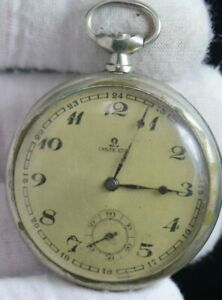 VINTAGE OMEGA POCKET WATCH (Not Working) Balance is Good  moves Freely
