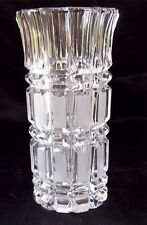 "Vintage Crystal Cut Glass Vase 8"" tall Wedge & File Motif with Flared Top MINT"