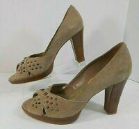 Franco Sarto Womens Peep Toe Heels 7 M Suede Leather Slip On Peep Toe Beige