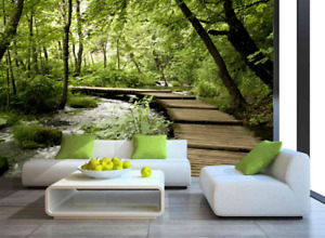 Nature Forest Landscape Wall Mural Self-adhesive Green Forest Photo Wallpaper