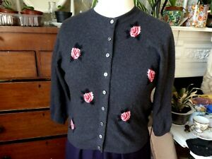 """1940s/50s cardigan grey soft cashmere pink roses Harrods 38"""""""