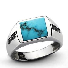 Real NATURAL Blue TURQUOISE and ONYX in 925 Sterling Silver Classic Mens Ring