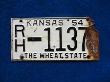 Vintage Original KANSAS 1954 RH 1137 License VEHICLE Tag Man Cave Reissue.