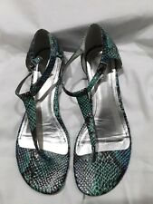 Style & Co womans 9M green & brown snakeskin like t-strap to ankle buckle. NWOB