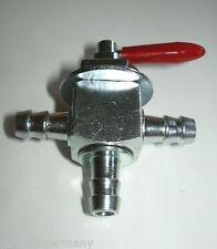 3-wege Benzinhahn für 8 mm Schlauchdurchmesser Metall Stahl Fuel tank Tap 2 tank