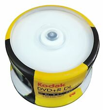 50 KODAK 8X  White Inkjet Printable Blank DVD+R DL Dual Double Layer 8.5 GB Disc
