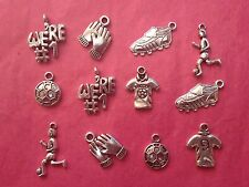 Tibetan Silver Mixed Pack of Football Themed Charms - 12 per pack -Fathers Day