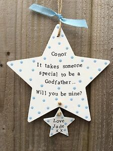 Handmade Personalised Plaque Sign Will You Be My Godmother Godfather  Gift
