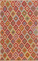 Diamond Kilim Reversible Oriental Area Rug Pastel Color Hand-woven Wool 5x7 ft