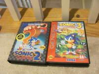 Sonic the Hedgehog  2 + 3 Sega Genesis Lot Bundle Retail Complete CIB