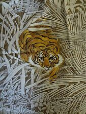 Vintage TIGER Themed Fabric Remnant (50cm x 55cm)