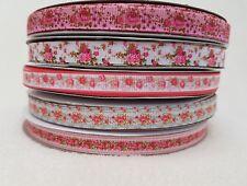 "10 Metres Lot of 3/8""/ 9mm Mixed Grosgrain Pink Flower Ribbons.40p Metre"