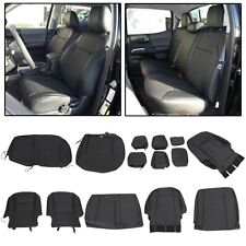 Black Front Rear Seat Covers Set For 2016-2020 Toyota Tacoma Double Cab