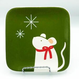 Tag Mouse Christmas Square Dessert Plate
