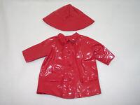 IMPERMEABLE & CHAPEAU rouge vêtements Poupée BELLA GÉGÉ 60/70's 24cm vintage