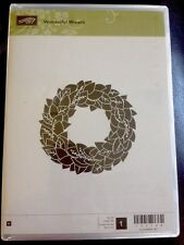 """WONDERFUL WREATH"" Stampin'UP! NEW~WOOD unmounted-Christmas wreath 3"" wide"
