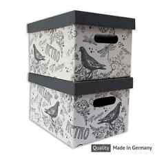 Vintage Retro Aufbewahrungsbox Schachtel Karton mit Deckel A4 Neu 35 x 21 x 26cm