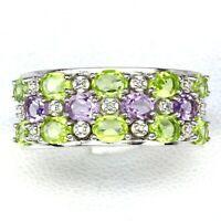 Ring Purple Amethyst Green Peridot Genuine Gems Sterling Silver Size P 1/2  US 8