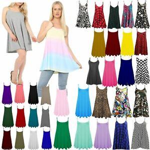 Womens Cami Dress Tops Plus Size Ladies Summer Swing Rainbow Top Vest