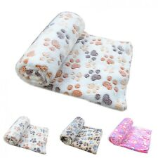 Dog Soft Blanket Bed Puppy Cat Print Cushion Small Large Paw Print Mat Pad Cover