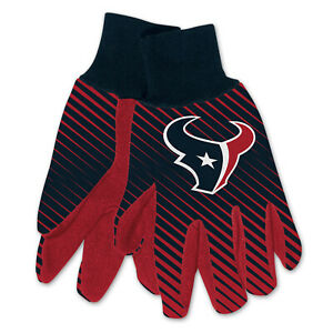 NEW Licensed Football Black & Red Houston Texans Gripped Utility Gloves