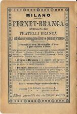 Stampa antica pubblicità FERNET BRANCA 1895 Old antique print