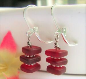 Stacked Red Sea Glass Squares Cherry Daisy Spacer Silver Dangle Earrings