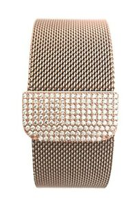 Bling Zirconia Rose Gold Magnetic Mesh Band Wristband Strap Apple Watch iwatch