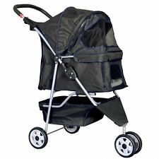 Best Pet Stroller Cats and Dogs Travel Carriage Travel Folding Carrier Black