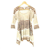 Sundance Catalog Tunic Top Women's Medium 3/4 Sleeve Striped Asymmetric Hem