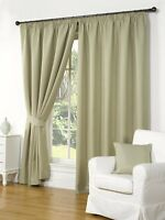 WAFFLE GREEN 66 x 54 READY MADE FULLY LINED PENCIL PLEAT CURTAINS LUXURY STYLE