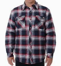 Dickies Jackets Mens Sherpa Lined Flannel Snap Front Overshirt Plaid L MSRP $55
