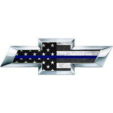 2 Thin Blue BW American Flag SIlverado US Universal Chevy Vinyl Emblem Overlay