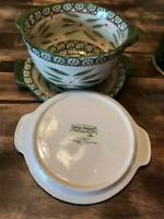 Temptations By Tara Old World Green 2qt Round Casserole Dish W/Lid And Plate