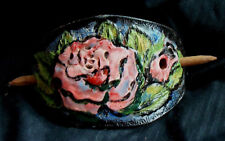 Real Leather BEACH WEAR Carved Hair Jewelry Barrette Oval PINK Rose