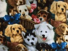 "Puppy dog basket tulip flower fleece fabric, 60""w, sold BTY"