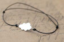 bracelet cordon avec medaille nuage en argent massif 925 neuf femme fille