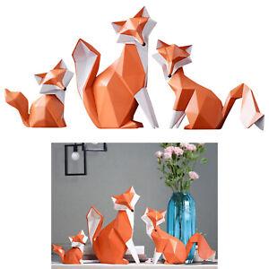 3 Sizes- Garden Office Ornaments Orange Fox Resin Statue Kids Adults Gifts