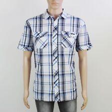 Lee Cooper Mens Size XL White Check Short Sleeve Shirt