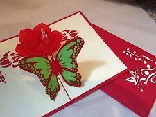 POP UP card - flower & butterfly (birthday, blank)