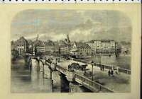 Original Old Antique Print View Basle Switzerland River Bridge Buildings
