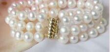 3 row natural 9-8mm Akoya white pearl bracelet 14k 7.5-8inch