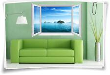 3D Fenster Wandbild Wandtattoo Aufkleber Meer Insel Karibik SPA Bad Wohnzimmer