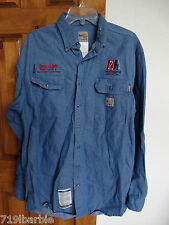 Carhartt men's long sleeve button-down flame resistant denim work shirt size L