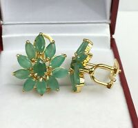 14k Solid Yellow Gold Pear Shape Omega Back Earrings, Natural Emerald 4.81 Grams